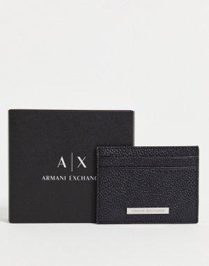 Черная визитница с логотипом -Черный цвет Armani Exchange