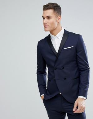 Двубортный пиджак-смокинг узкого кроя -Темно-синий Selected Homme