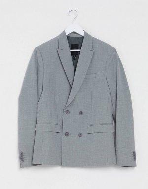 Серый двубортный блейзер узкого кроя New Look
