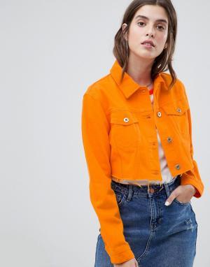 Укороченная джинсовая куртка River Island. Цвет: оранжевый