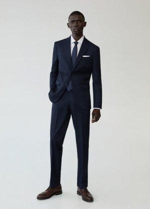 Костюмные брюки regular fit с мелкой фактурной выделкой - Janeiro Mango. Цвет: темно-синий
