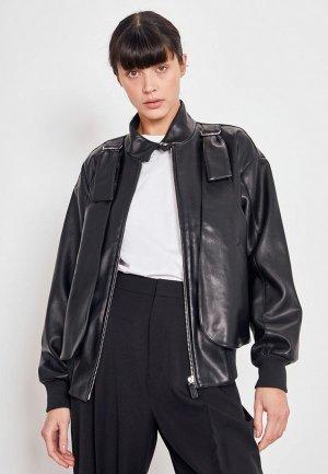 Куртка кожаная Lime. Цвет: черный