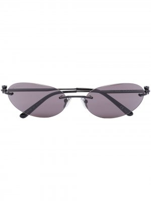 Invisible oval-frame sunglasses Balenciaga Eyewear. Цвет: черный