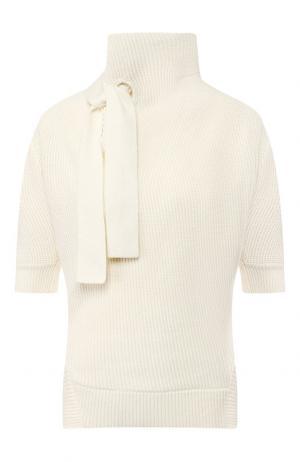 Пуловер из смеси хлопка и шерсти self-portrait. Цвет: кремовый