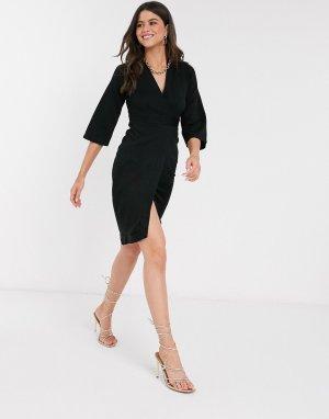 Черное платье с запахом и вставками Closet-Черный цвет Closet London