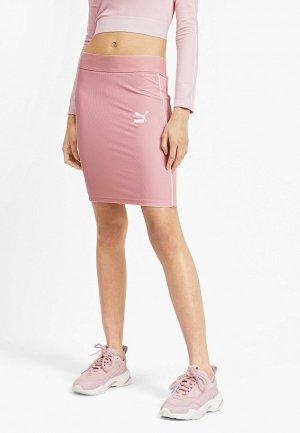 Юбка PUMA Classics Rib Skirt. Цвет: розовый