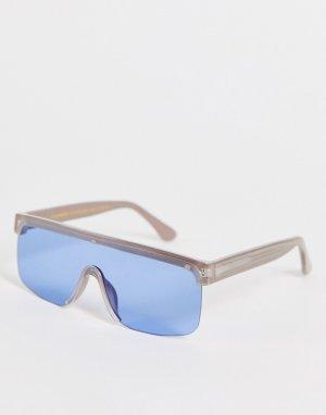 Большие солнцезащитные очки с козырьком в светло-серой оправе стиле унисекс Move 1-Серый A.Kjaerbede