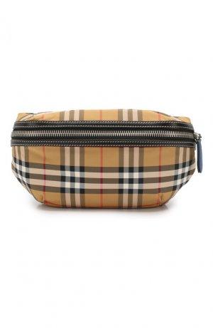 Текстильная поясная сумка Burberry. Цвет: бежевый