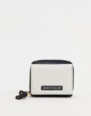 Черный кошелек с белой перфорацией на лицевой стороне и фирменным кожаным ярлычком обратной -Черный цвет House of Holland