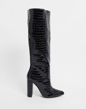 Черные сапоги на каблуке с отделкой под кожу крокодила -Черный Steve Madden