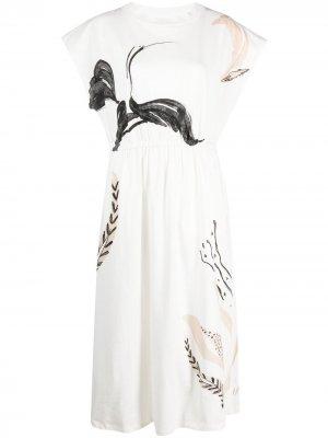 Платье с принтом Alysi. Цвет: белый