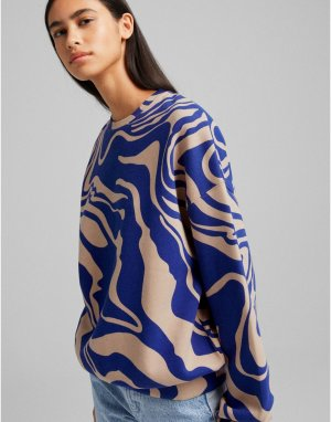 Темно-синий oversized-свитшот с мраморным принтом -Разноцветный Bershka