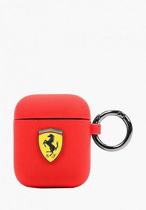Чехол для наушников Ferrari Airpods, Silicone case with ring Red. Цвет: красный