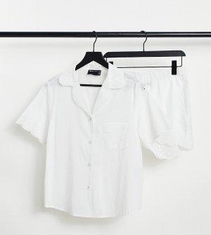 Эксклюзивный белый пижамный комплект с рубашкой и шортами вышивкой ришелье ASOS DESIGN Maternity