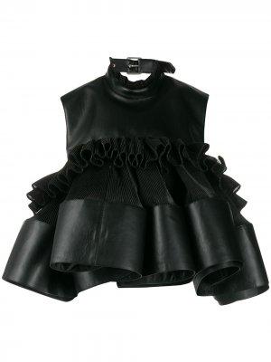 Плиссированный топ с открытой спиной Comme Des Garçons Noir Kei Ninomiya. Цвет: черный