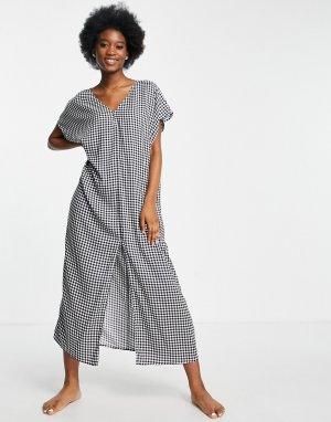 Черное пляжное платье-туника миди в клетку April-Черный цвет Monki
