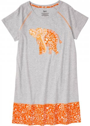 Сорочка ночная из биохлопка bonprix. Цвет: серый