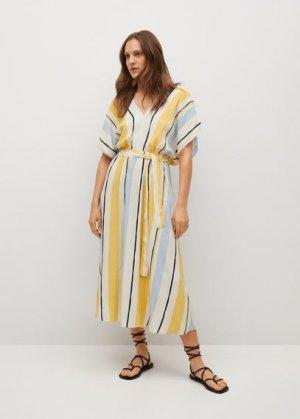 Полосатое платье с ремешком - Wes Mango. Цвет: желтый