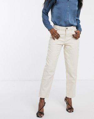 Светло-бежевые свободные джинсы бойфренда -Белый ASOS DESIGN