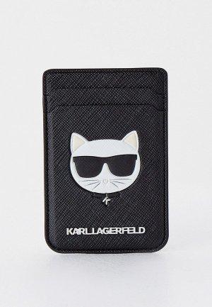 Кредитница Karl Lagerfeld Магн. бумажник Wallet Cardslot Magsafe Saffiano Choupette Black. Цвет: черный
