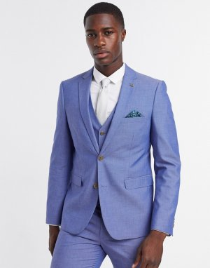 Синий приталенный пиджак -Голубой Farah