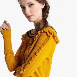 Пуловер с ажурным вырезом-лодочка и воланом LA REDOUTE COLLECTIONS. Цвет: желтый