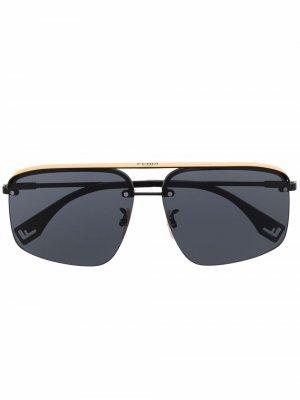 Солнцезащитные очки-авиаторы Fendi Eyewear. Цвет: черный