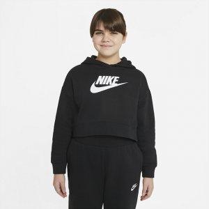 Укороченная худи из трикотажа френч терри для девочек школьного возраста Sportswear Club (расширенный размерный ряд) - Черный Nike