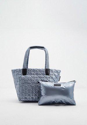 Комплект VeeCollective сумка и косметичка. Цвет: голубой