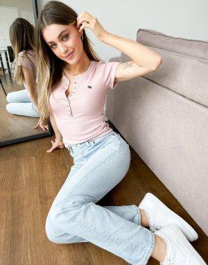 Розовая футболка с планкой на пуговицах короткими рукавами -Розовый цвет Abercrombie & Fitch