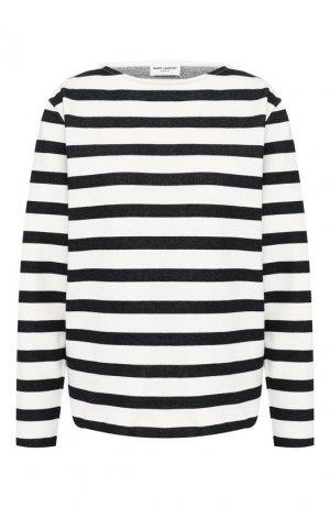 Хлопковый пуловер Saint Laurent. Цвет: белый