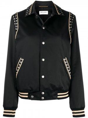 Куртка-бомбер с принтом Saint Laurent. Цвет: черный