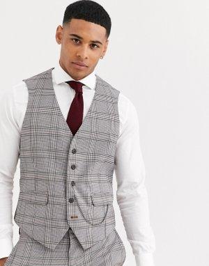 Коричневый клетчатый жилет приталенного кроя в стиле ретро -Коричневый цвет Burton Menswear