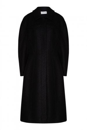 Черное пальто из шерстяной ткани Chapurin. Цвет: черный