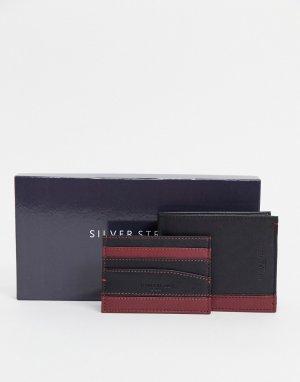 Кожаный кошелек и кредитница -Черный Silver Street