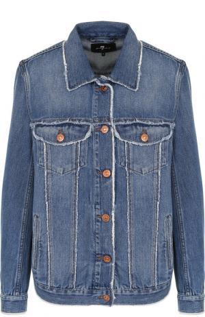 Джинсовая куртка с потертостями 7 For All Mankind. Цвет: синий