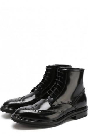 Высокие кожаные ботинки с брогированием H`D`S`N Baracco. Цвет: черный