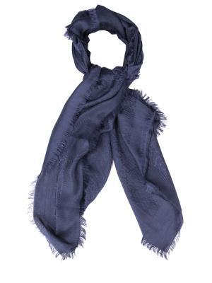 Шелковый шарф с узором GUCCI. Цвет: синий