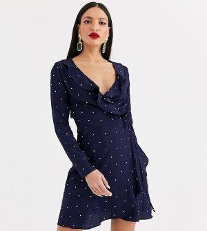 Эксклюзивное темно-синее платье в горошек с запахом и длинными рукавами -Черный Missguided Tall