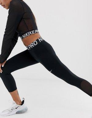 Черные леггинсы-капри Nike Pro Training-Черный Training