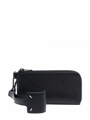 Большой кошелек из зернистой кожи Maison Margiela. Цвет: черный