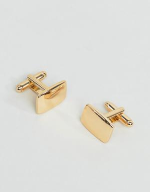 Квадратные золотистые запонки -Золотистый ASOS DESIGN