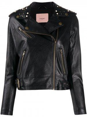 Байкерская куртка с заклепками Twin-Set. Цвет: черный