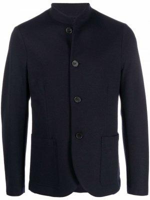 Шерстяной пиджак с воротником-стойкой Harris Wharf London. Цвет: синий