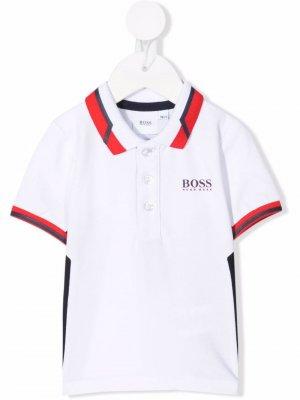Рубашка поло с логотипом BOSS Kidswear. Цвет: белый