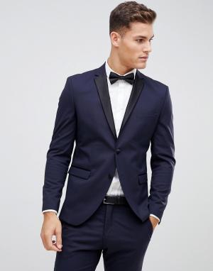 Темно-синий приталенный пиджак-смокинг с атласными лацканами Selected Homme