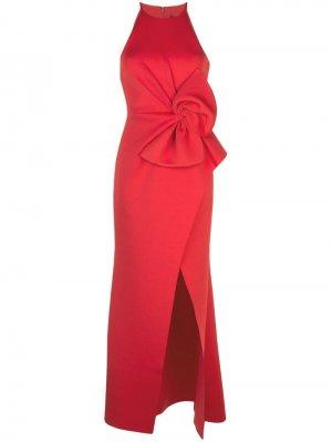 Длинное платье с бантом Badgley Mischka. Цвет: красный