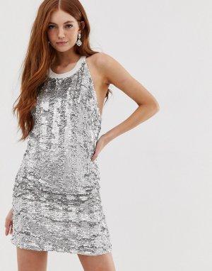 Платье-комбинация с отделкой Bozozka Deby Debo. Цвет: серебряный