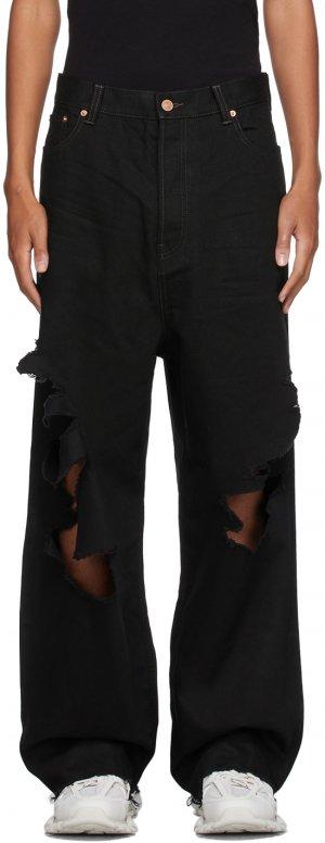 Black Destroyed Large Baggy Jeans Balenciaga. Цвет: 2470 petrol noir