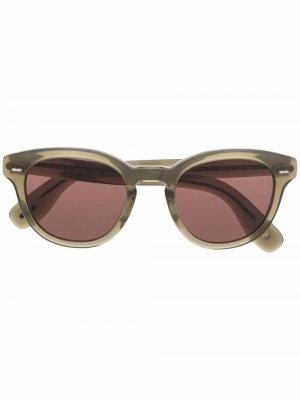 Солнцезащитные очки в круглой оправе Oliver Peoples. Цвет: зеленый